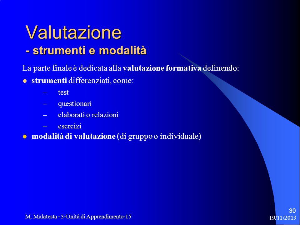 Valutazione - strumenti e modalità