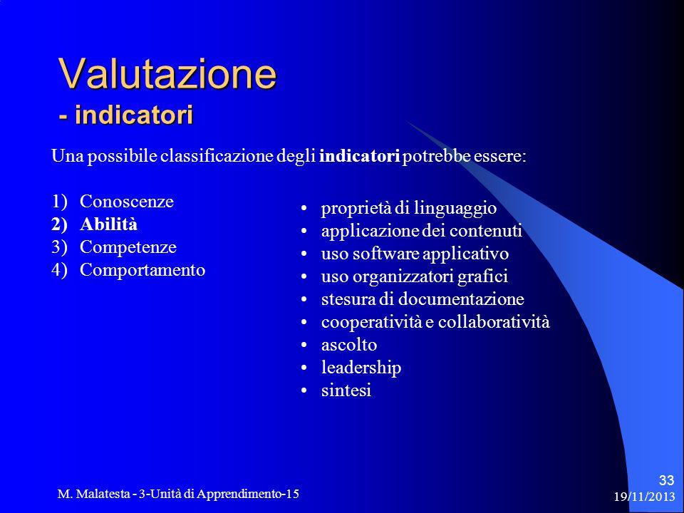 Valutazione - indicatori