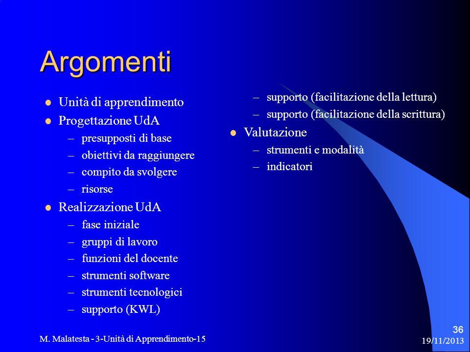 Argomenti Unità di apprendimento Progettazione UdA Valutazione