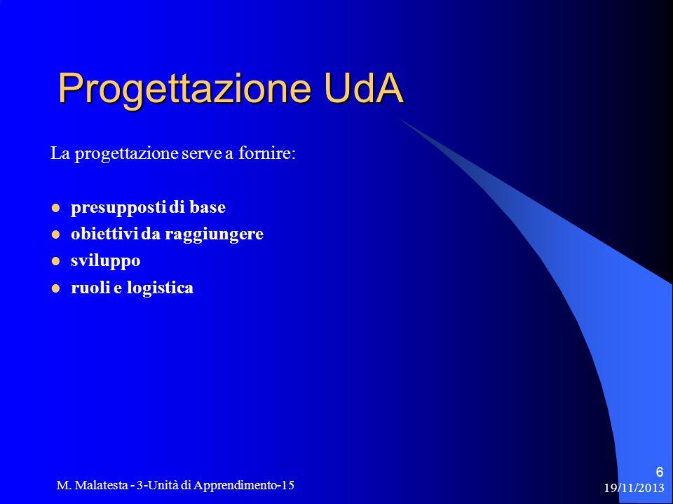 Progettazione UdA La progettazione serve a fornire: