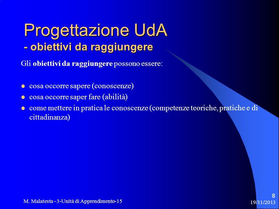 Progettazione UdA - obiettivi da raggiungere