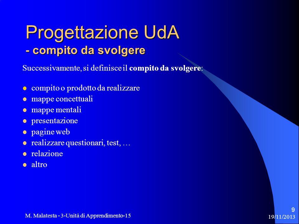 Progettazione UdA - compito da svolgere
