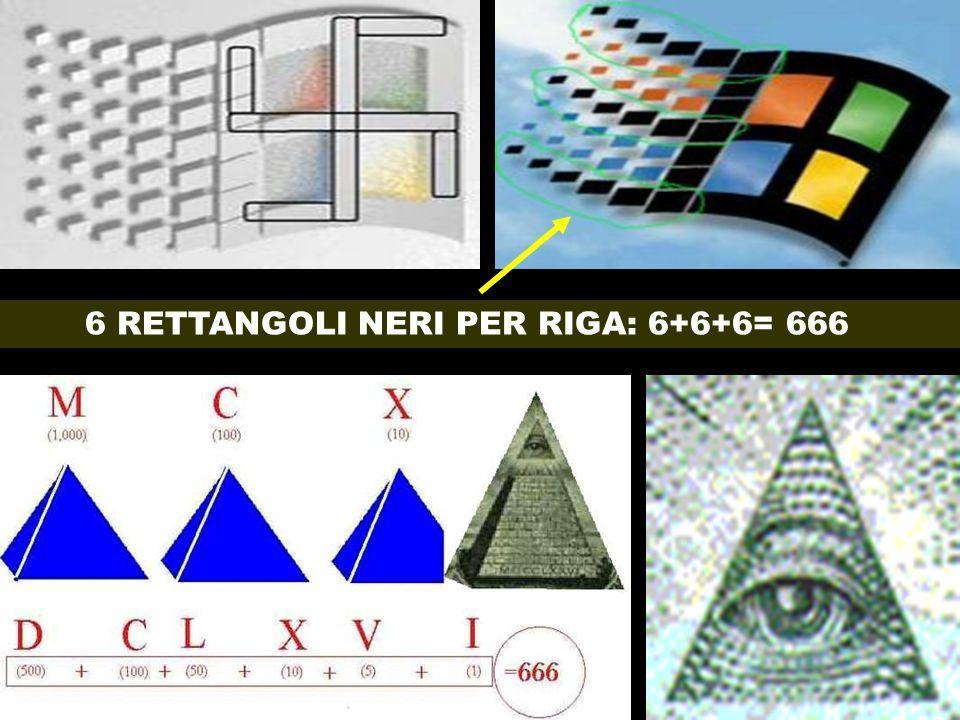 6 RETTANGOLI NERI PER RIGA: 6+6+6= 666