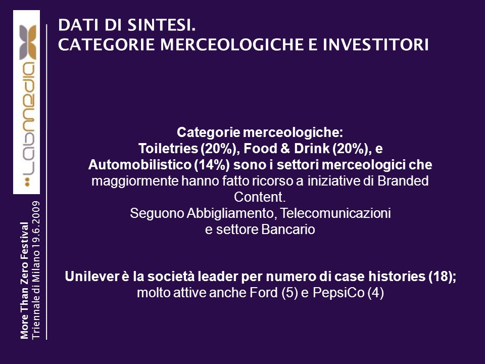 DATI DI SINTESI. CATEGORIE MERCEOLOGICHE E INVESTITORI