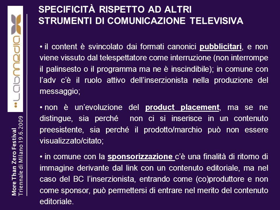 SPECIFICITÀ RISPETTO AD ALTRI STRUMENTI DI COMUNICAZIONE TELEVISIVA
