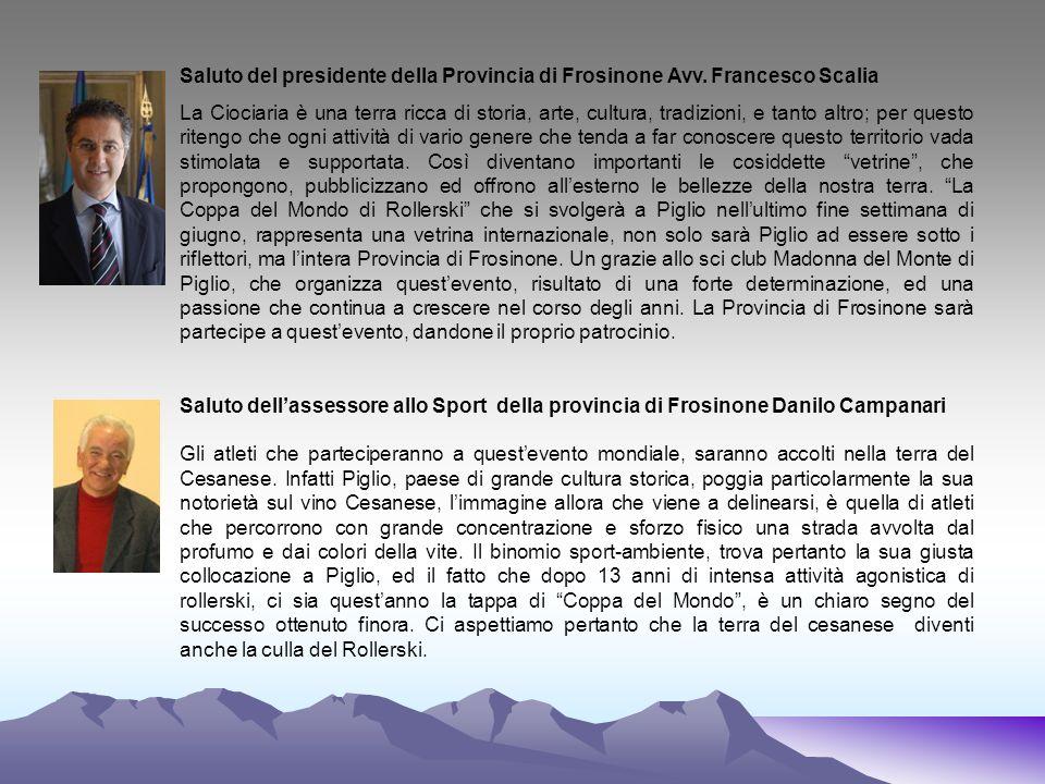 Saluto del presidente della Provincia di Frosinone Avv