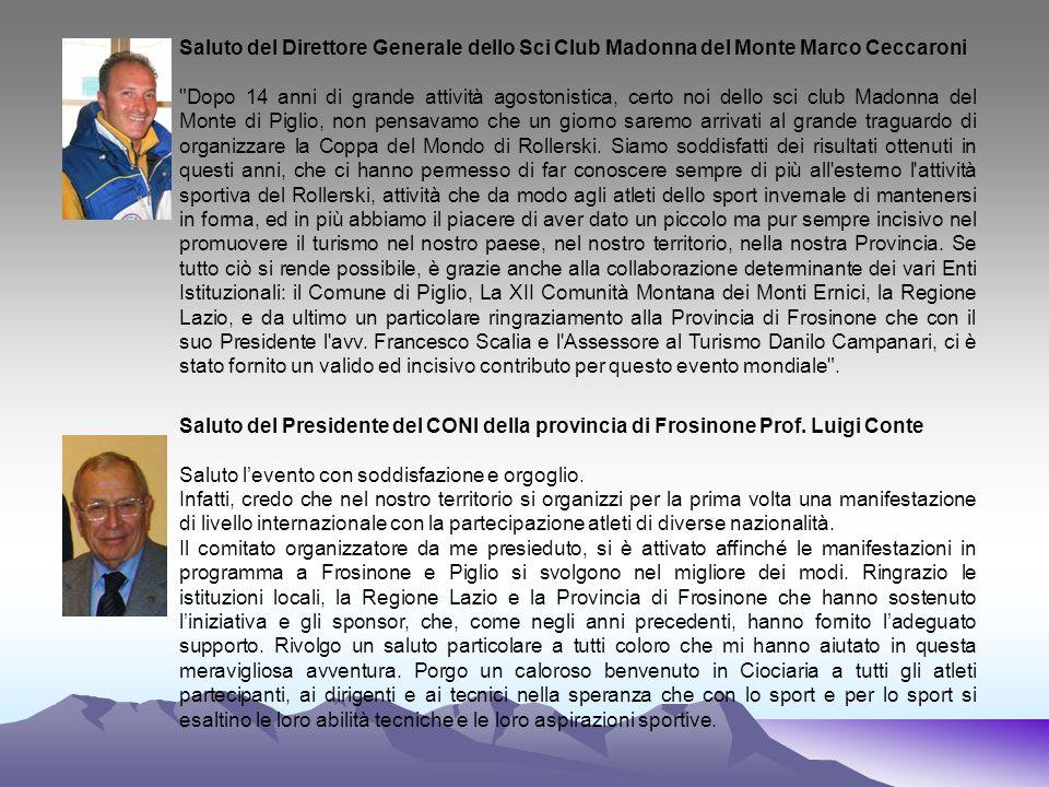 Saluto del Direttore Generale dello Sci Club Madonna del Monte Marco Ceccaroni