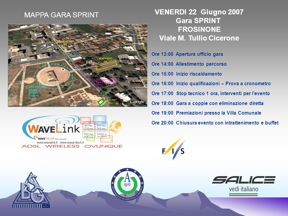 VENERDI 22 Giugno 2007 Gara SPRINT FROSINONE Viale M. Tullio Cicerone