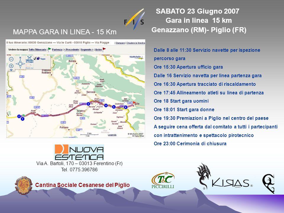 SABATO 23 Giugno 2007 Gara in linea 15 km Genazzano (RM)- Piglio (FR)