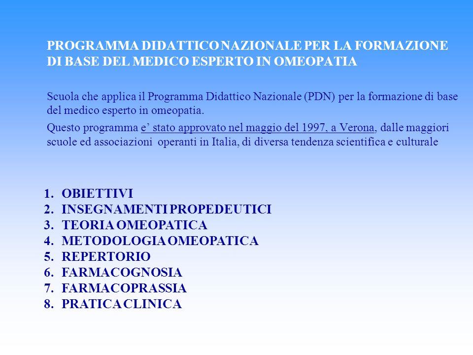 INSEGNAMENTI PROPEDEUTICI TEORIA OMEOPATICA METODOLOGIA OMEOPATICA