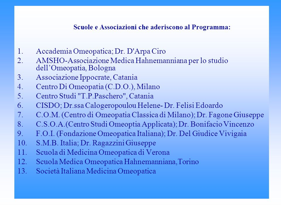 Accademia Omeopatica; Dr. D Arpa Ciro