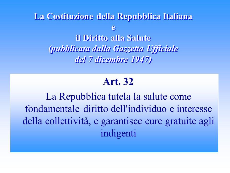 La Costituzione della Repubblica Italiana e il Diritto alla Salute (pubblicata dalla Gazzetta Ufficiale del 7 dicembre 1947)