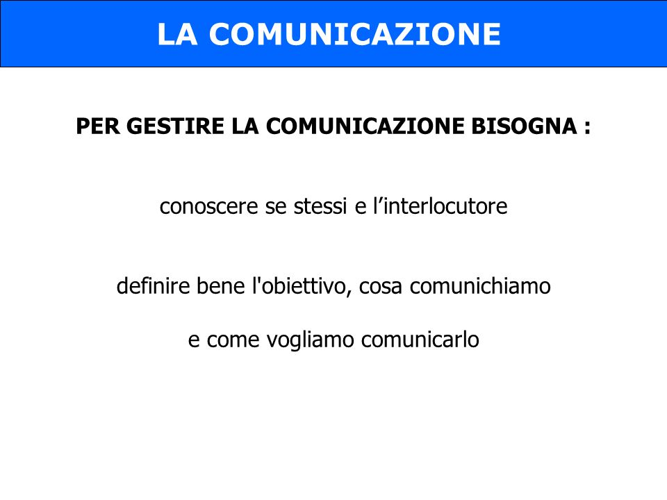 PER GESTIRE LA COMUNICAZIONE BISOGNA :