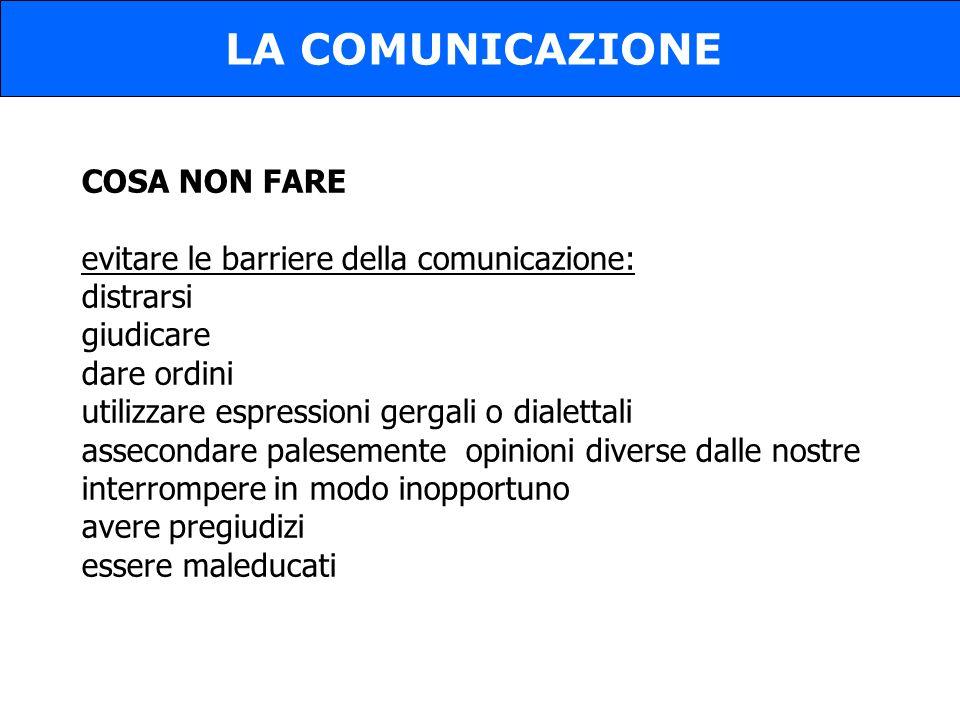 LA COMUNICAZIONE COSA NON FARE
