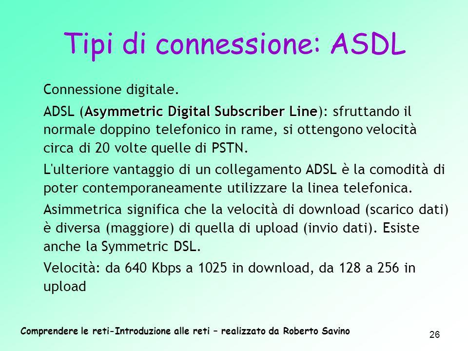 Tipi di connessione: ASDL