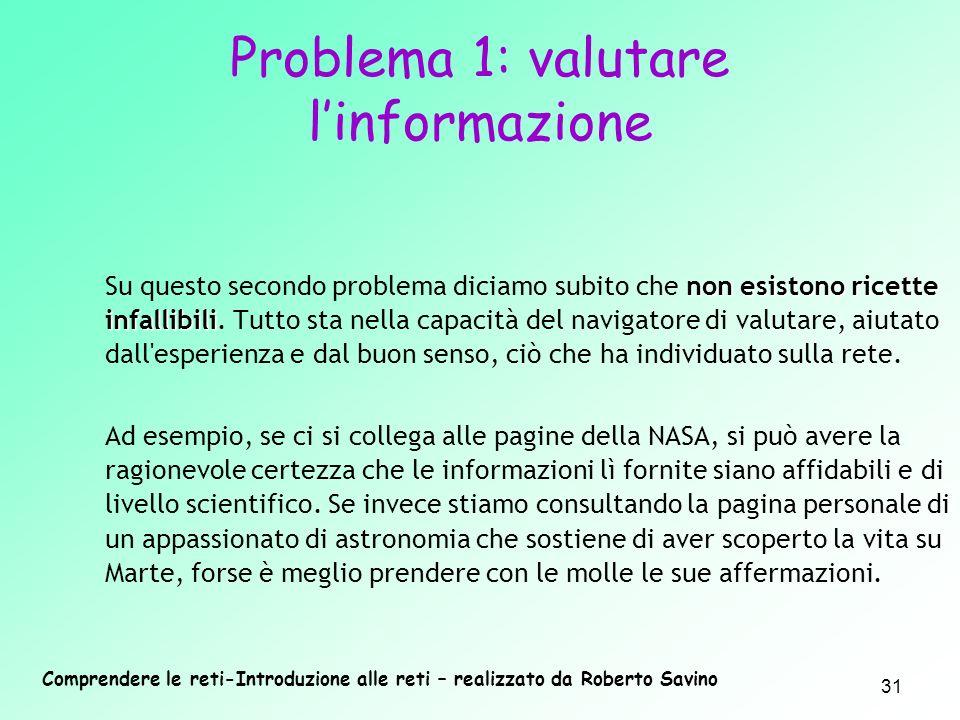 Problema 1: valutare l'informazione
