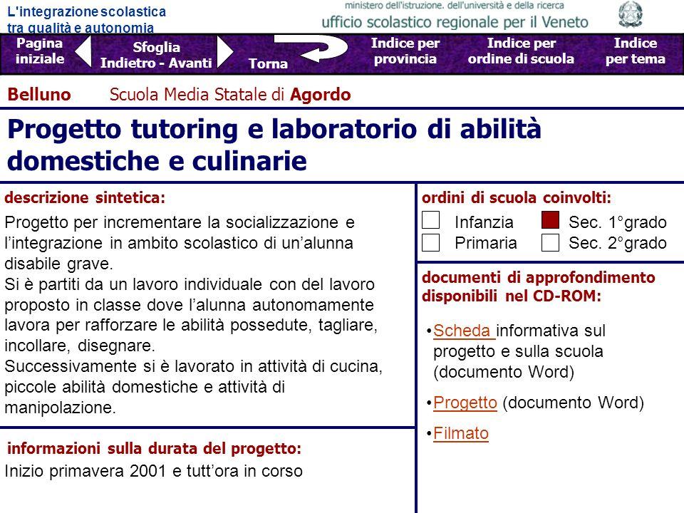 Progetto tutoring e laboratorio di abilità domestiche e culinarie