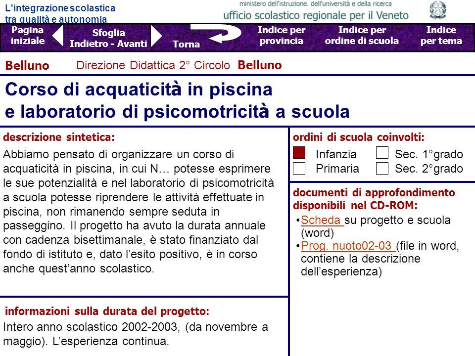Belluno Direzione Didattica 2° Circolo Belluno. Corso di acquaticità in piscina e laboratorio di psicomotricità a scuola.