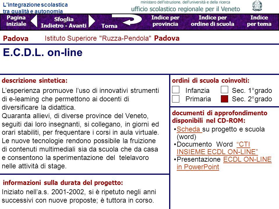 E.C.D.L. on-line Padova Istituto Superiore Ruzza-Pendola Padova