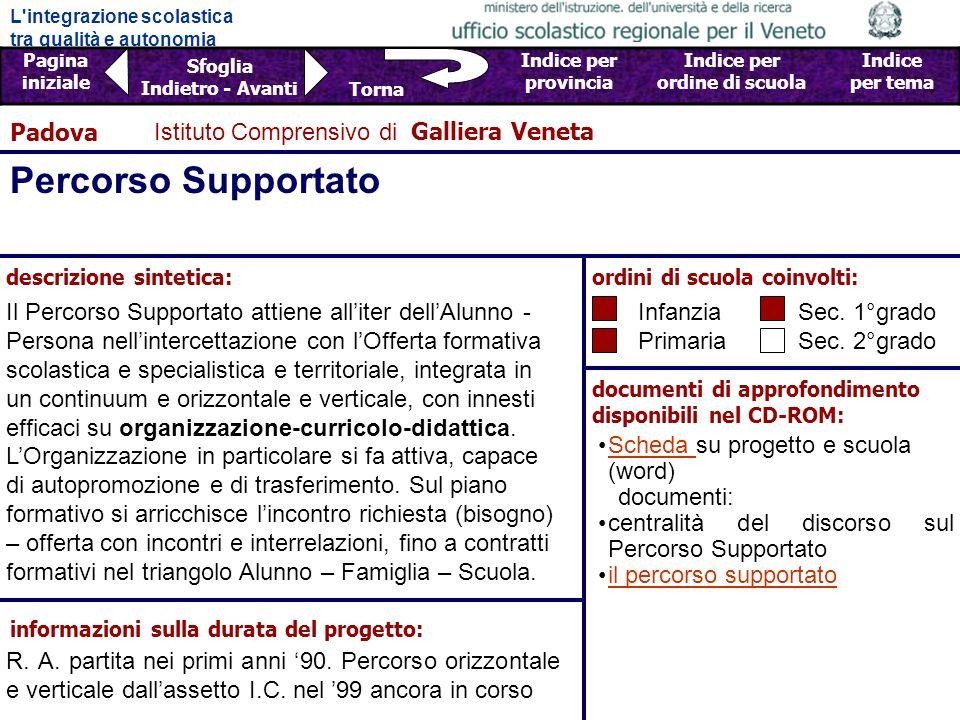 Percorso Supportato Padova Istituto Comprensivo di Galliera Veneta