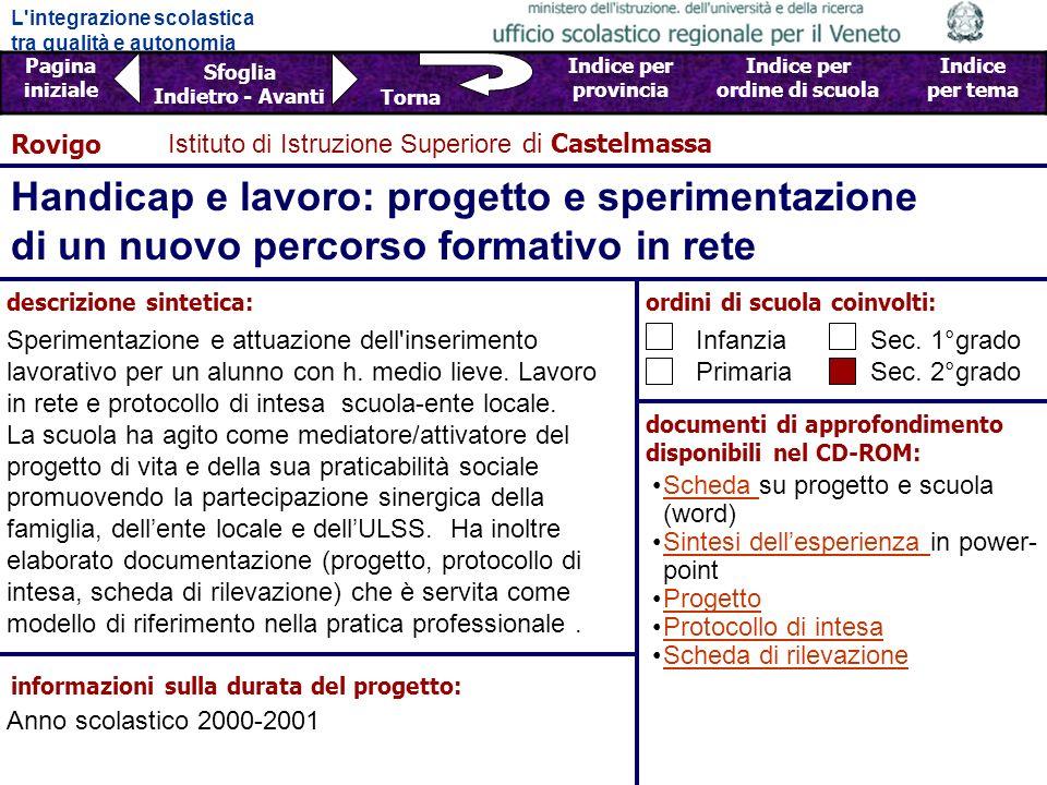 Rovigo Istituto di Istruzione Superiore di Castelmassa. Handicap e lavoro: progetto e sperimentazione di un nuovo percorso formativo in rete.