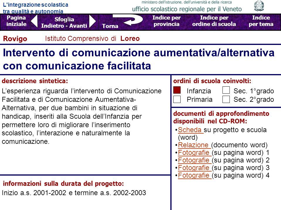 Rovigo Istituto Comprensivo di Loreo. Intervento di comunicazione aumentativa/alternativa con comunicazione facilitata.