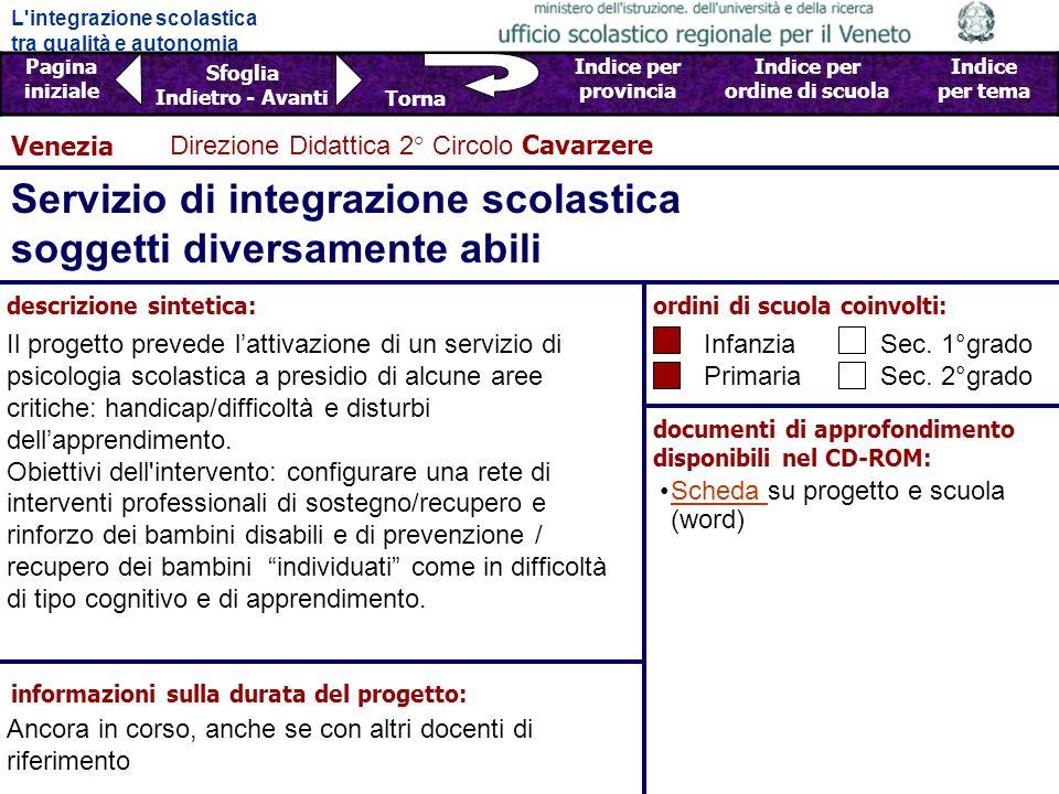 Servizio di integrazione scolastica soggetti diversamente abili