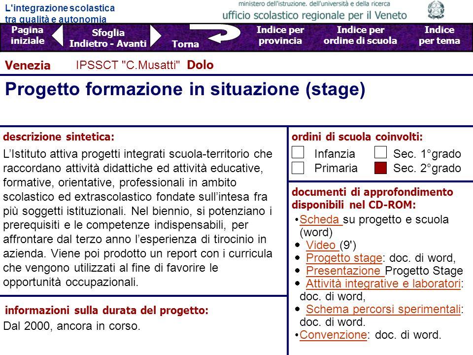 Progetto formazione in situazione (stage)