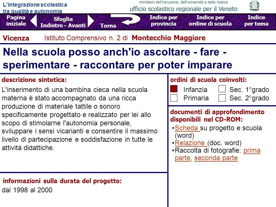 Vicenza Istituto Comprensivo n. 2 di Montecchio Maggiore. Nella scuola posso anch io ascoltare - fare -sperimentare - raccontare per poter imparare.