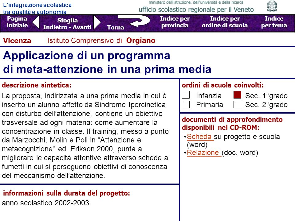 Applicazione di un programma di meta-attenzione in una prima media