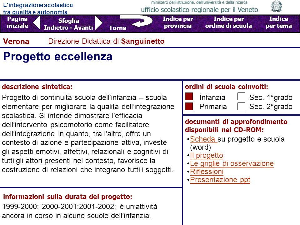 Progetto eccellenza Verona Direzione Didattica di Sanguinetto