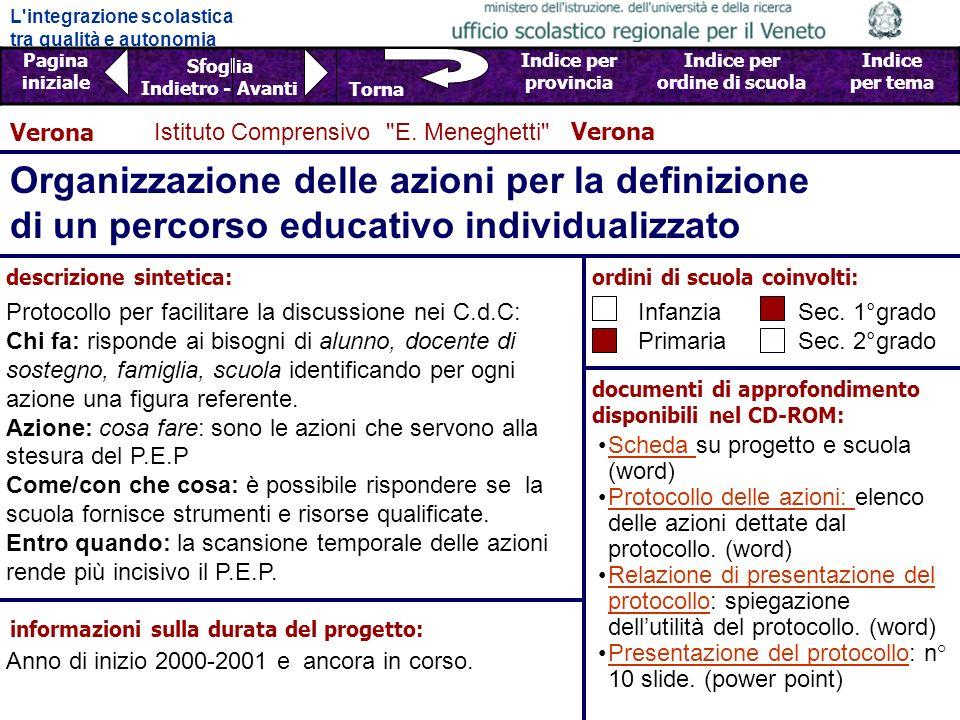 Verona Istituto Comprensivo E. Meneghetti Verona. Organizzazione delle azioni per la definizione di un percorso educativo individualizzato.