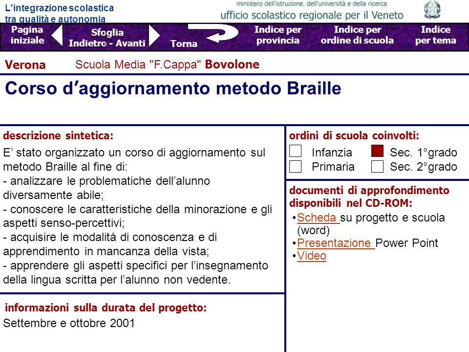 Corso d'aggiornamento metodo Braille