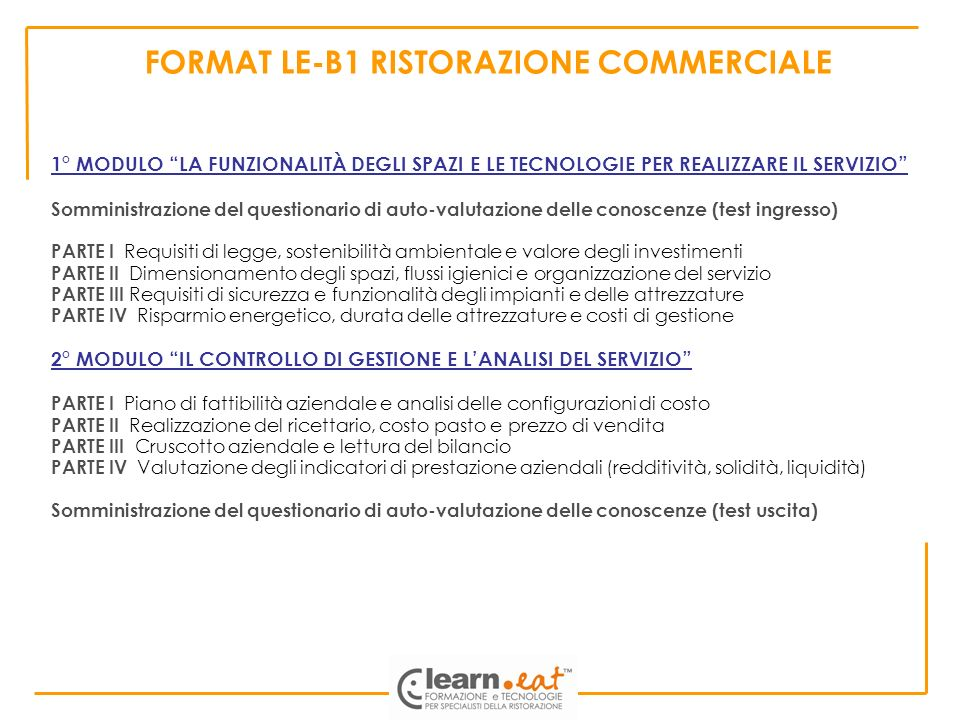 FORMAT LE-B1 RISTORAZIONE COMMERCIALE