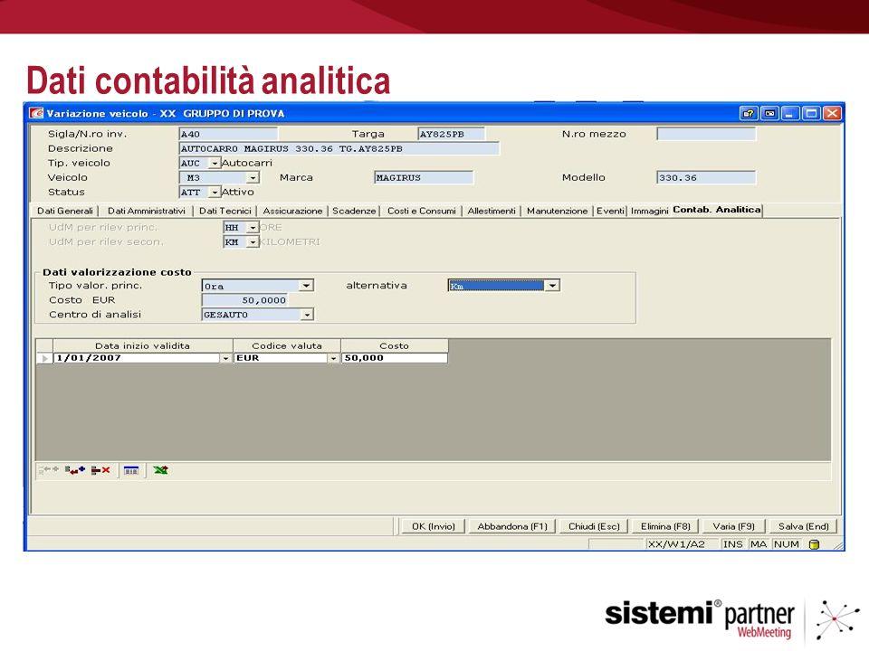 Dati contabilità analitica