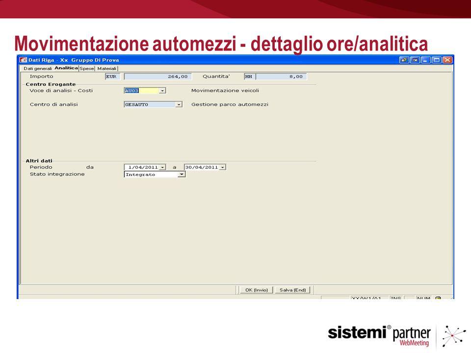 Movimentazione automezzi - dettaglio ore/analitica