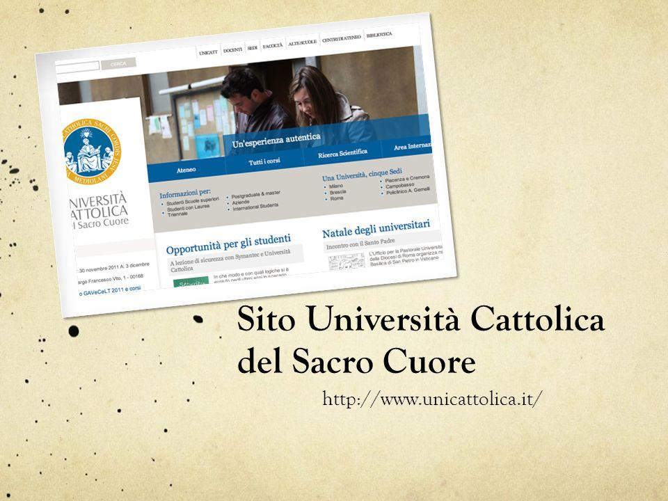Sito Università Cattolica del Sacro Cuore