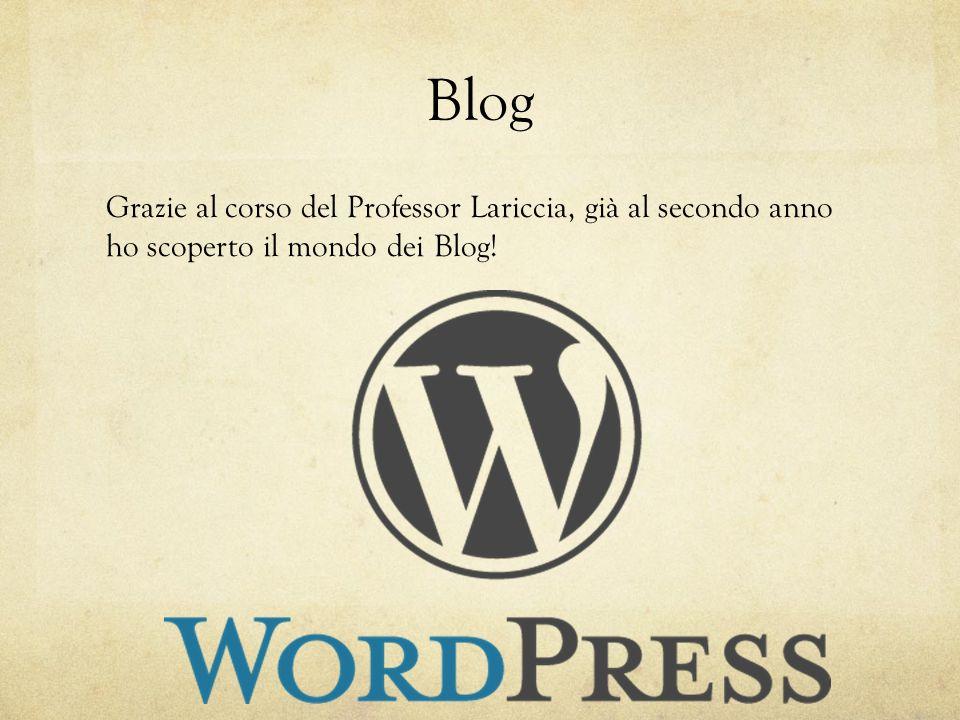 Blog Grazie al corso del Professor Lariccia, già al secondo anno ho scoperto il mondo dei Blog!