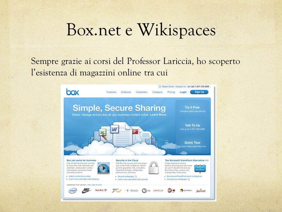 Box.net e Wikispaces Sempre grazie ai corsi del Professor Lariccia, ho scoperto l'esistenza di magazzini online tra cui.