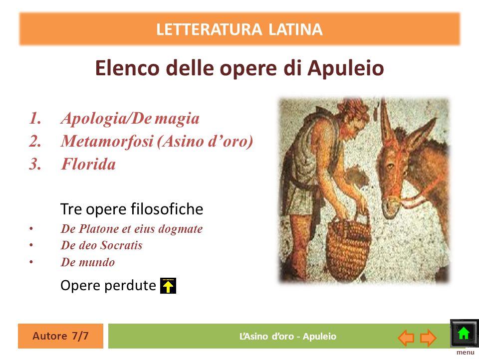 Elenco delle opere di Apuleio