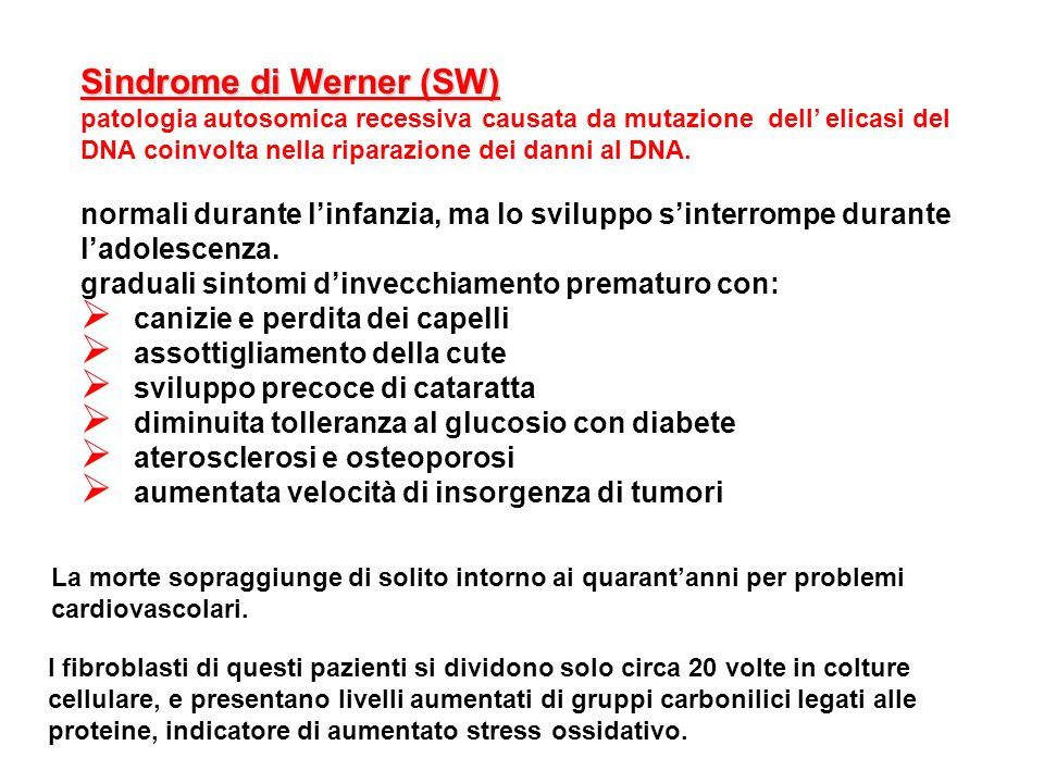 Sindrome di Werner (SW)