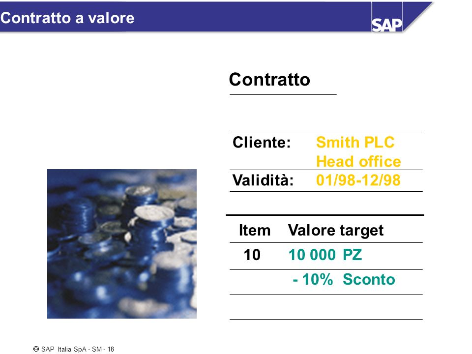 Contratto Contratto a valore Cliente: Smith PLC Head office