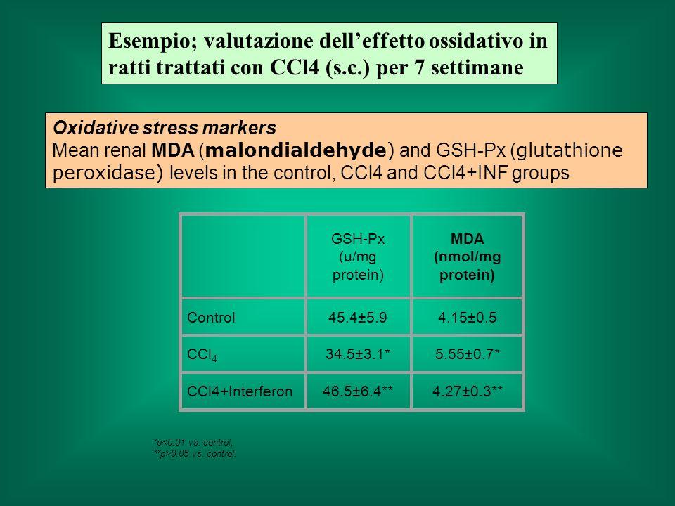 Esempio; valutazione dell'effetto ossidativo in ratti trattati con CCl4 (s.c.) per 7 settimane