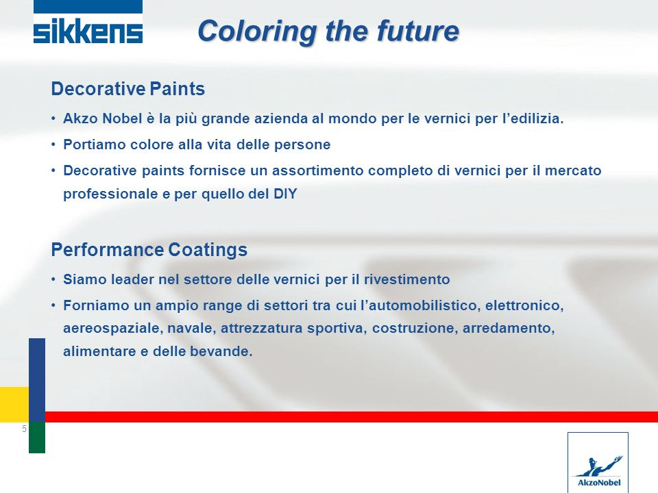 Coloring the future Decorative Paints Performance Coatings