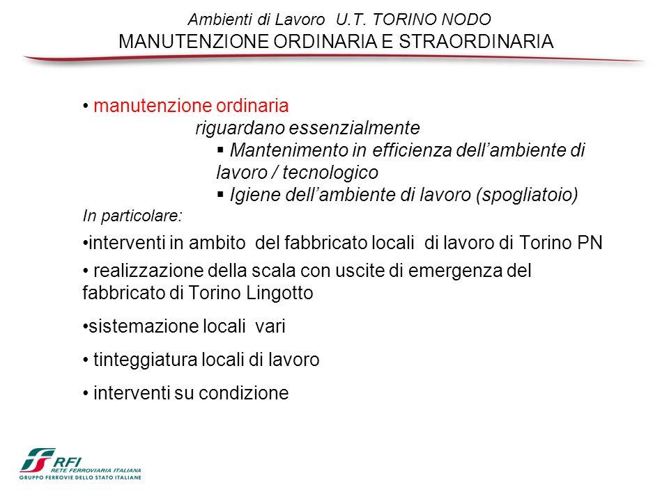 Ambienti di Lavoro U.T. TORINO NODO MANUTENZIONE ORDINARIA E STRAORDINARIA