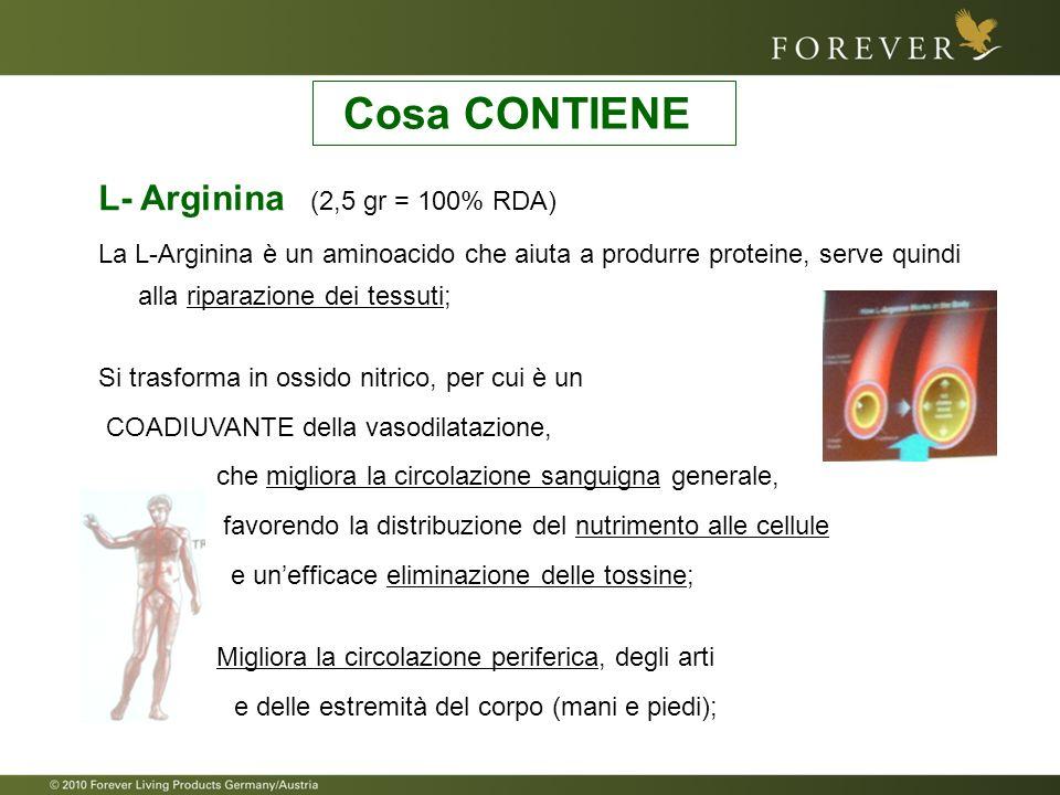Cosa CONTIENE L- Arginina (2,5 gr = 100% RDA)