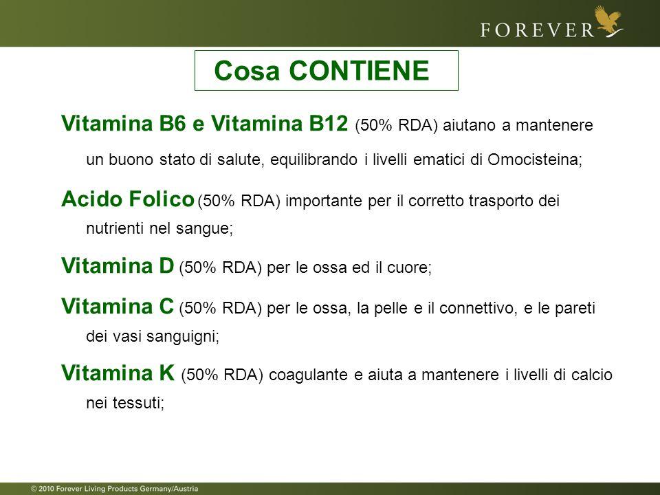 Cosa CONTIENE Vitamina B6 e Vitamina B12 (50% RDA) aiutano a mantenere un buono stato di salute, equilibrando i livelli ematici di Omocisteina;