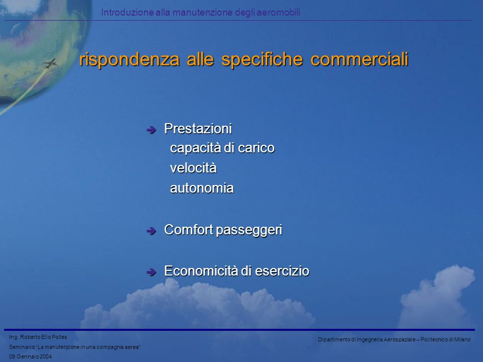 rispondenza alle specifiche commerciali