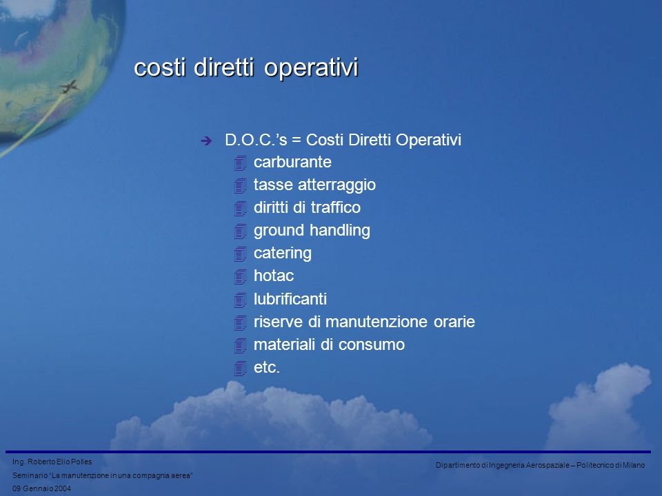 costi diretti operativi