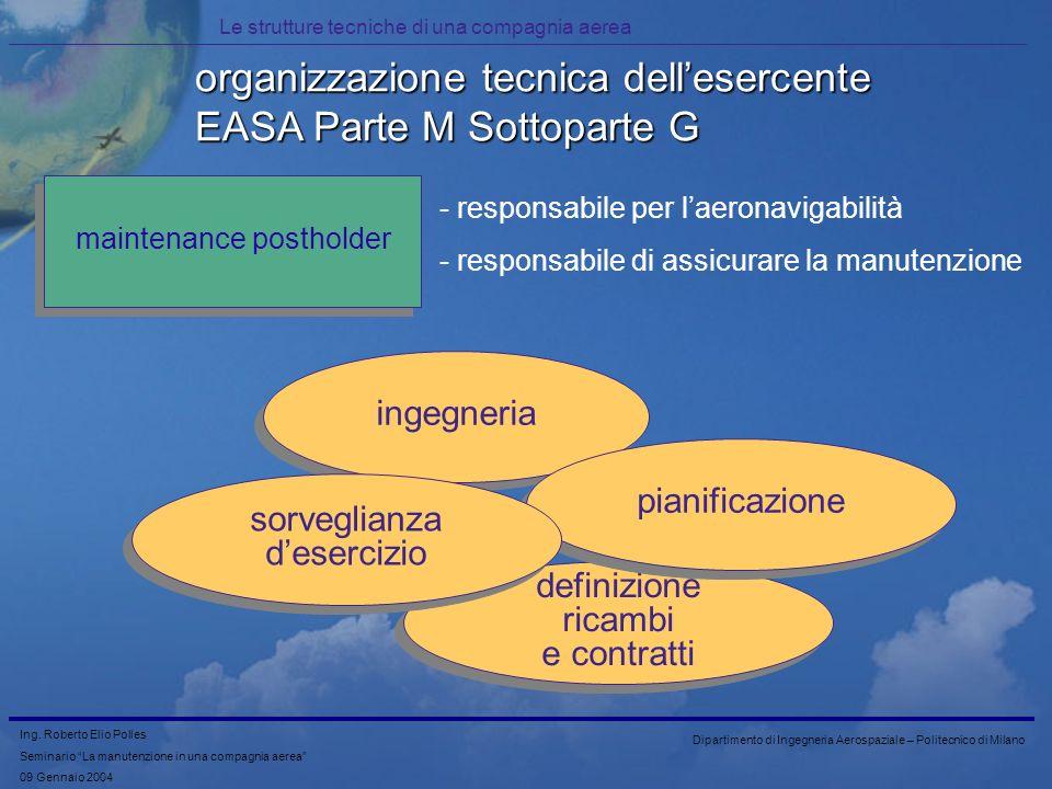 organizzazione tecnica dell'esercente EASA Parte M Sottoparte G